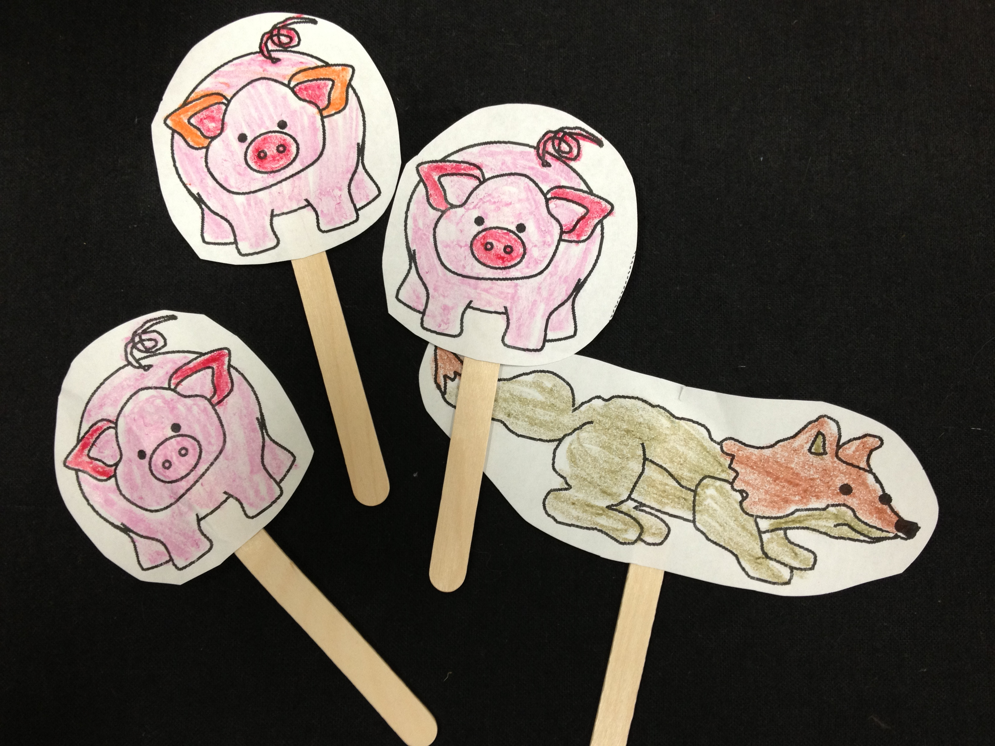 Feltboard never shushed page 3 for The three little pigs puppet templates
