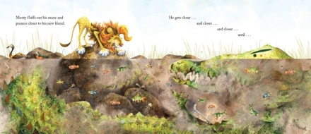 Monty's Magnificent Mane: at the watering hole (Photo source: Candlewick.com)