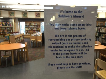 Reorganizing Picture Books Sign image